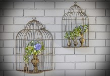 wall bird cages with flowers