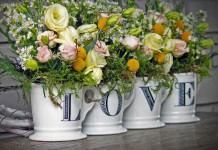 Love Mugs with flowers