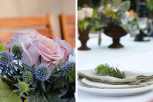 combined flower and table setting