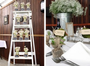 Wedding table seating plan and herb favours