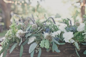 country wedding flowers in wooden box