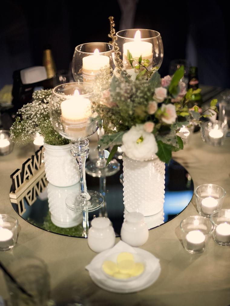 White Hobnail Vases by Lovestruck Weddings.  Flowers by White Ivy Design.