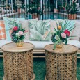 Carved Wooden Side Tables - Halcyon House Wedding