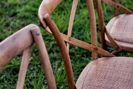 Chairs lounge furniture bars and accessories vases bottles jars - Wooden Cross Back Chairs Lovestruck Weddings And Events