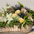 Lovestruck Beach Wedding Seagrass Baskets. Flowers by Elyssium Blooms.