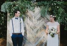 Wedding Ceremony Parquetry Backdrop - Lovestruck Weddings