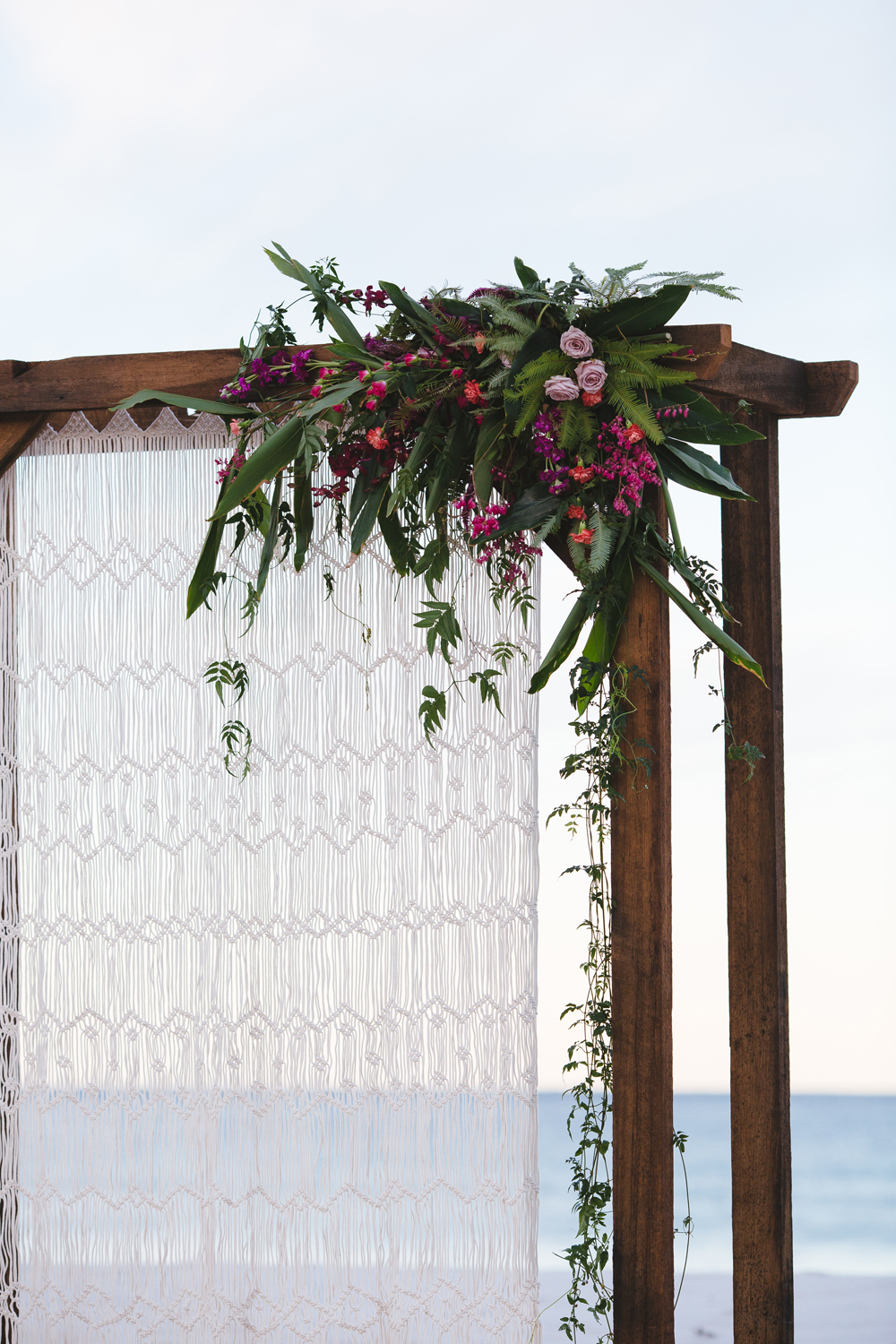 Lovestruck Weddings - Twine Magazine - Wooden Arbour Macrame Curtain