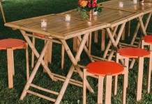 Bamboo Folding Table Hire by Lovestruck Weddings