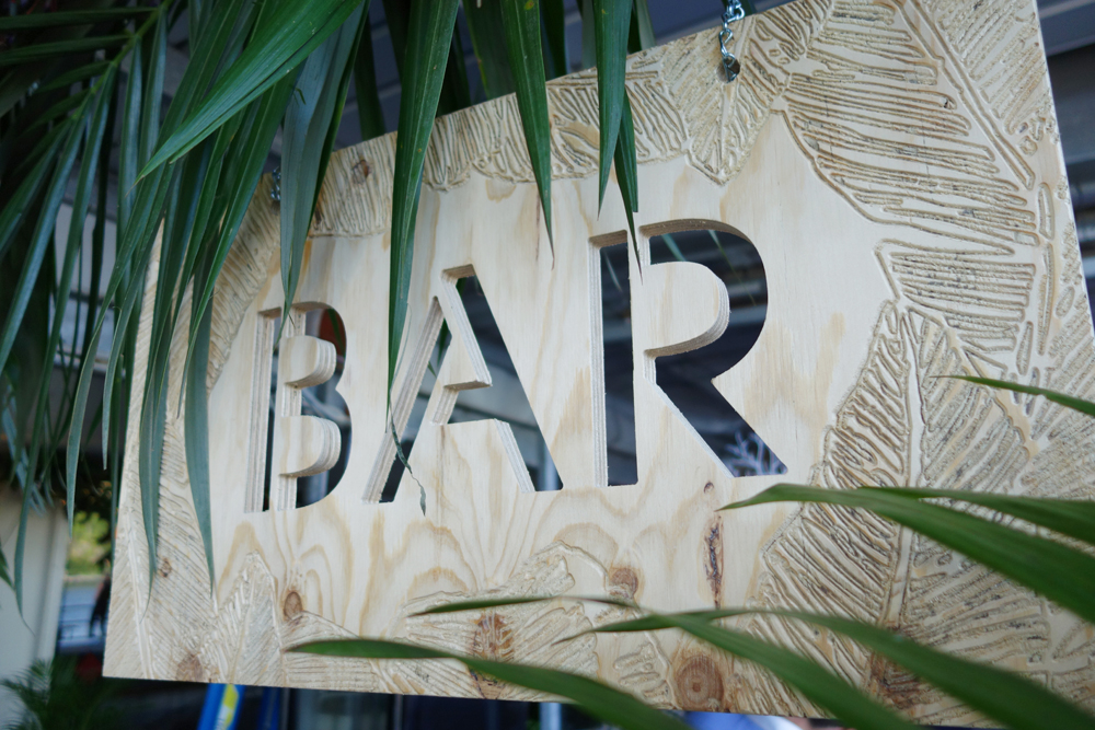 Palm bar sign hire by Lovestruck Weddings