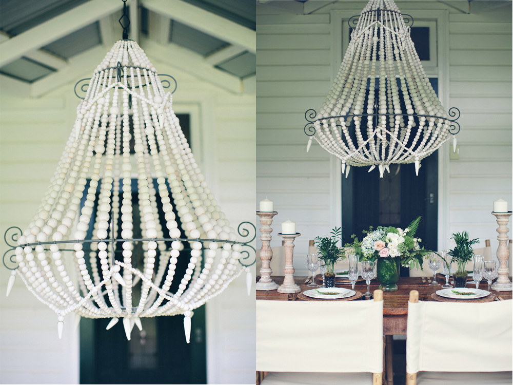 White Beaded Chandelier by Lovestruck Weddings