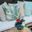 Palm Leaf Cushion Hire - Lovestruck Weddings
