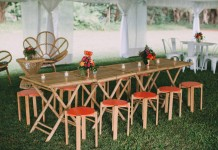 Orange Stool and Bamboo Table Hire by Lovestruck Weddings