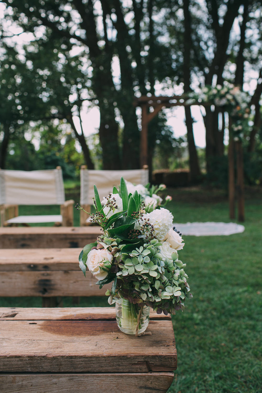 Byron Bay Wedding Ceremony at Ewingsdale Hall.  Furniture by Lovestruck Weddings.