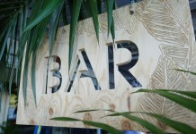 Palm Leaf Bar Sign Hire by Lovestruck Weddings