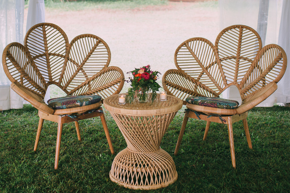 Rattan furniture hire by Lovestruck Weddings