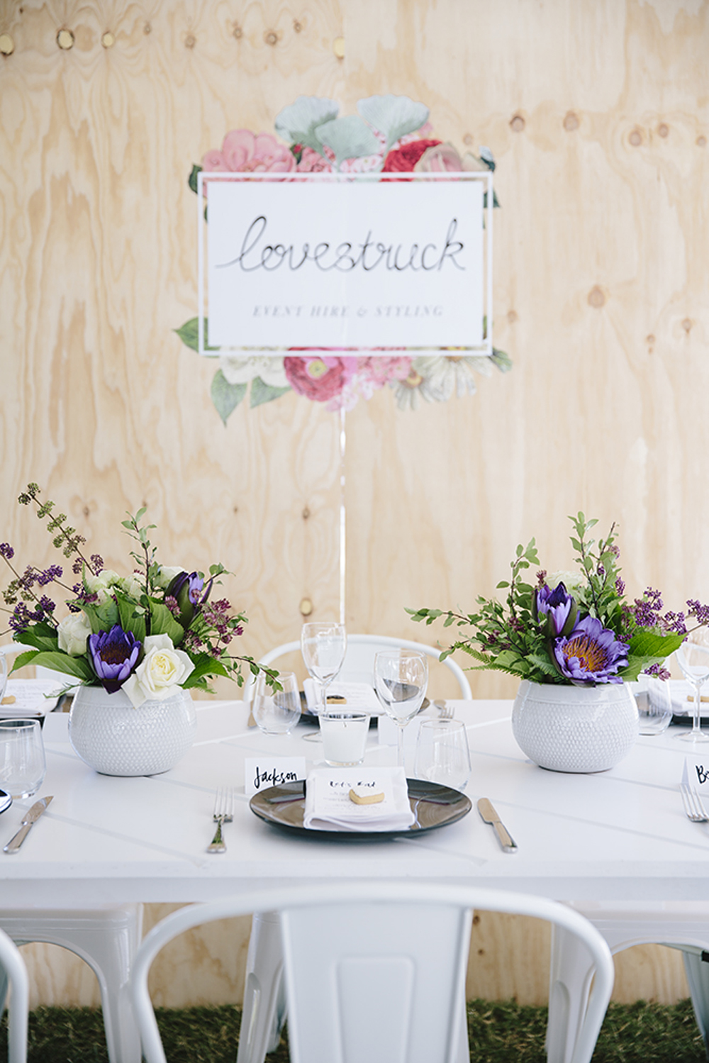 Lovestruck Weddings - White Parquetry Tables and White Tolix Chair Hire