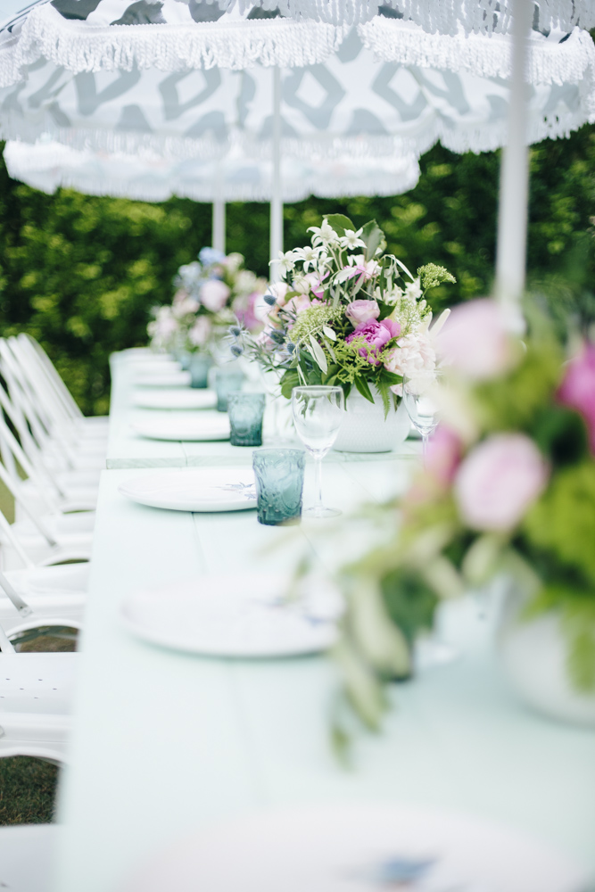 Baby Shower by Lovestruck Weddings.  Mint Tables with Umbrellas.