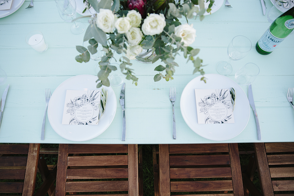 Lovestruck Weddings - Mint Tables and Wooden Folding Chair Hire