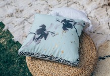 Mint Hibiscus Cushion Hire - Lovestruck Weddings