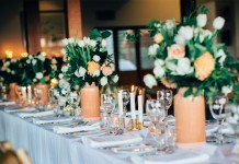 Peppers Ruffles Lodge Wedding. Peach Vases Hire by Lovestruck Weddings.